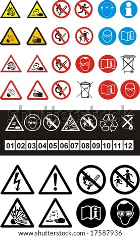 Set of safety symbols on white background - stock vector