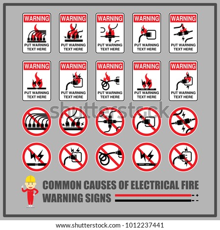 Set Safety Warning Signs Symbols Causes Stock Vector 1012237441 ...