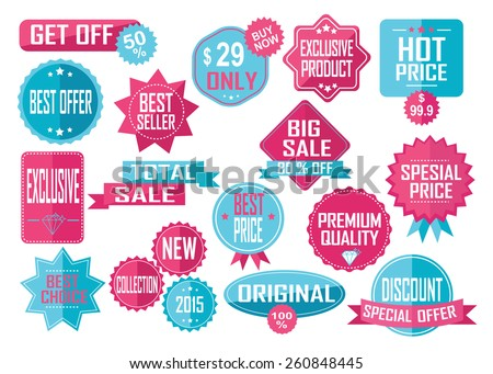 Set of Sale and Best Choice Badges and Labels. Pink and yellow. Vector illustration. - stock vector