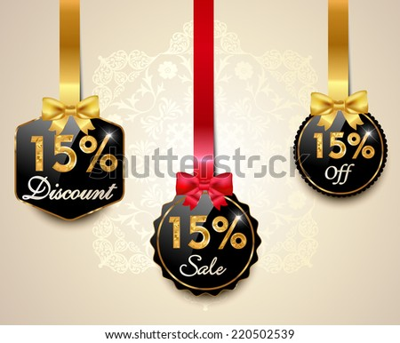Set of 15% sale and discount golden labels with red bows and ribbons Style Sale Tags Design, 15 off - vector eps10 - stock vector