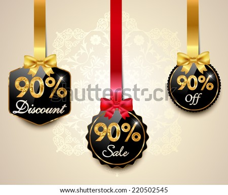 Set of 90% sale and discount golden labels with red bows and ribbons Style Sale Tags Design, 90 off - vector eps10 - stock vector