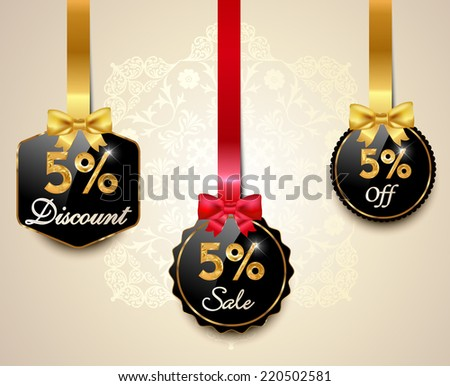 Set of 5% sale and discount golden labels with red bows and ribbons Style Sale Tags Design, 5 off - vector eps10 - stock vector