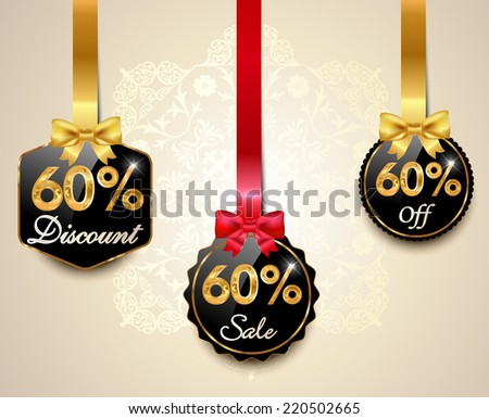 Set of 60% sale and discount golden labels with red bows and ribbons Style Sale Tags Design, 60 off - vector eps10 - stock vector