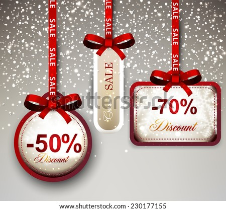 Set of sale and discount paper labels with red bows and ribbons. Vector. - stock vector