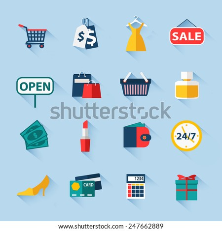 Set of sale and shopping flat icons for design. Vector illustration.