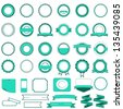 Set of sale badges, labels and stickers without text in cyan - stock vector