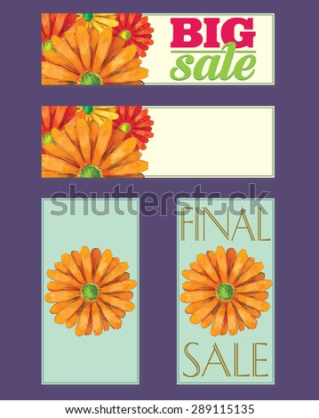 Set of sale badges with watercolor gerbera daisy