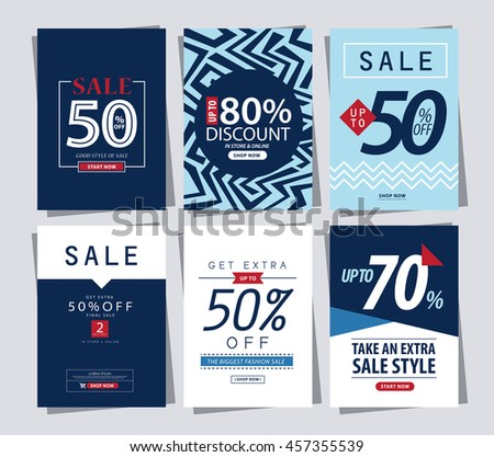 set of Sale Banner poster tag template for shopping.ads web template - stock vector