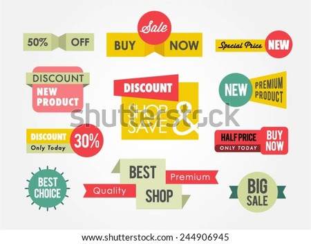 set of sale banners and badges, vector illustration - stock vector