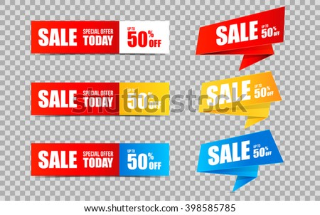 Set of Sale banners and stickers on transparent background