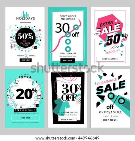 Set of sale banners for smartphone. Vector illustrations for social media banners, posters, email and newsletter designs, ads, promotional material.