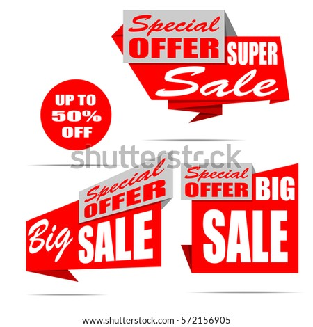 Set of sale banners. Red discount posters. Special offer. Up to 50% off. Vector, eps10.