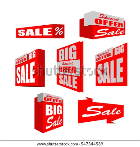 Set of sale banners. Red discount posters. Special offer. Vector, eps10