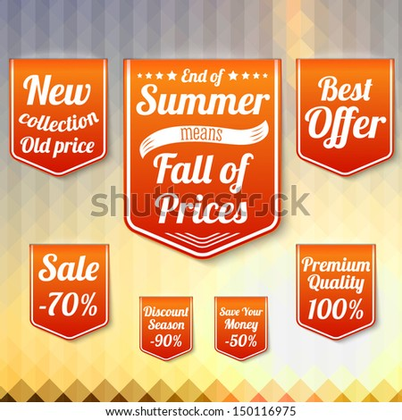 Set of sale business banners, for the late summer and for the autumn. On the triangle late summer background. Vector. - stock vector