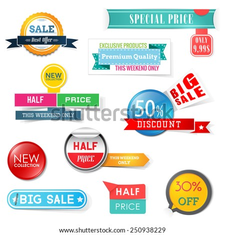 Set of sale design elements. Banners, badges and stickers - stock vector