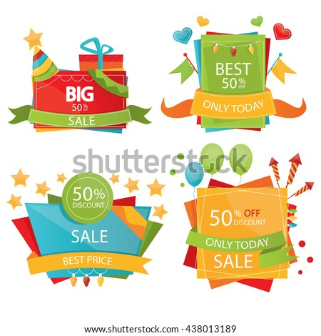 Set of sale design elements. Colorful sale tags, labels, banners and emblems. - stock vector