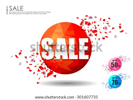 Set of sale design elements with Shattered effect design collection,vector background - stock vector