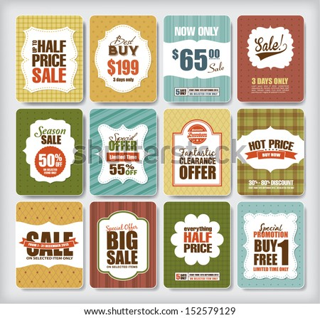 Set of sale/discount design elements - stock vector