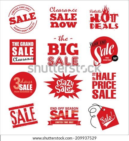 Set of sale icons & design elements - stock vector