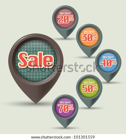 set of Sale label - stock vector