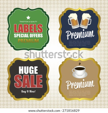Set of sale labels with text on a textured background. Vector illustration - stock vector