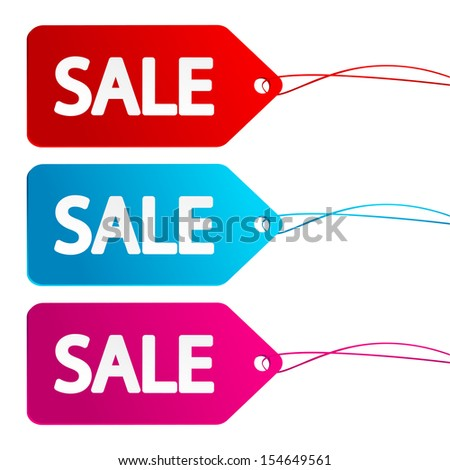 Set of sale paper labels - stock vector
