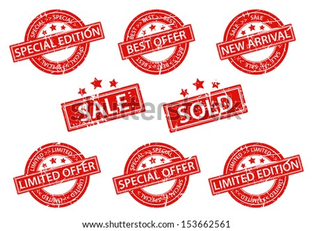 Set of sale rubber stamp with star - stock vector