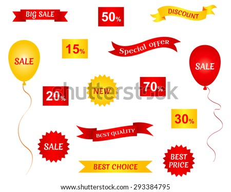 Set of sale stickers, labels and ribbon banners. Collection of design elements. Vector illustration. - stock vector
