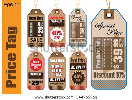 Set Of Sale Tag or Sale Labels for fashion, product, gift and another marketing on-line, and another paper. easy to modify - stock vector