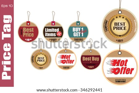 Set Of Sale Tag or Sale Labels for fashion, product, gift, another marketing on-line, and another paper. easy to modify - stock vector