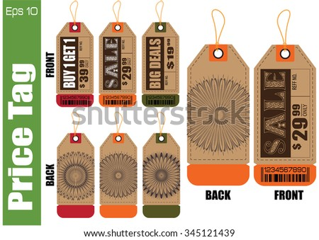 Set Of Sale Tag or Sale Labels with back design for fashion, product, gift, another marketing on-line, and another paper. easy to modify - stock vector