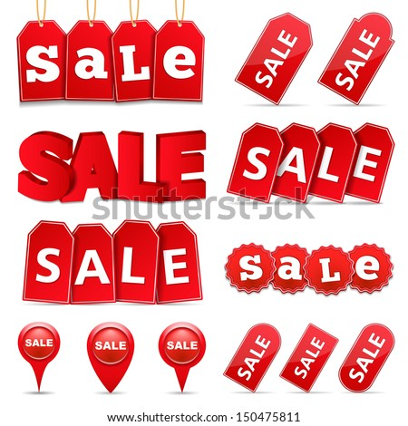 Set of sale tags and banners, vector eps10 illustration - stock vector