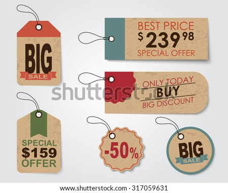 Set of sale tags (labels) for indicating the amount of discounts and prices. Retro style. Vector illustration. - stock vector
