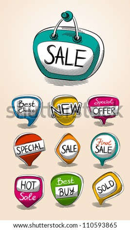 Set of sale talk bubbles. vector - stock vector