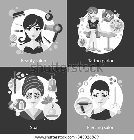Set of salons, beauty tattoo, piercing. Spa and parlor, face care, girl fashion, hair and cosmetic, woman haircut, elegant hairstyle, elegance visage, banner cosmetology. Black and white color - stock vector
