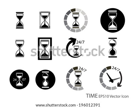 Set of Sand glass and timer icon vector illustration - stock vector
