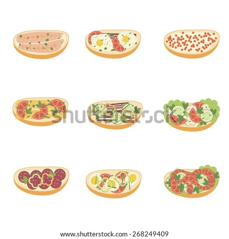 Set of sandwiches. Snack food. Eps 10 - stock vector