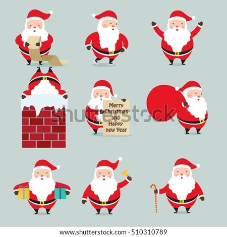Set of Santa Claus. Cute New Year cartoon characters.