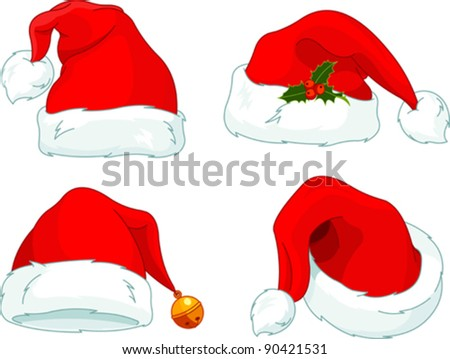 Set of Santa Claus  hat collection - stock vector