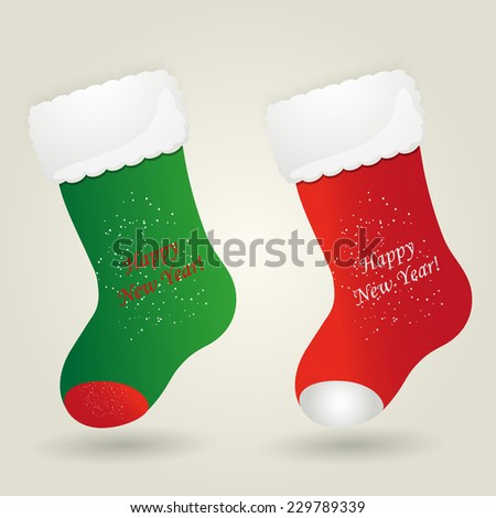Set of Santa's boot. Christmas background. Vector illustration - stock vector