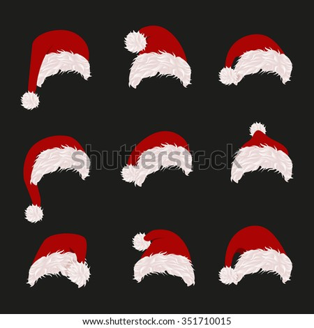 Set of Santa's warm hat with pile for girls and for boys. White and Blue hats. Vector illustration collection.