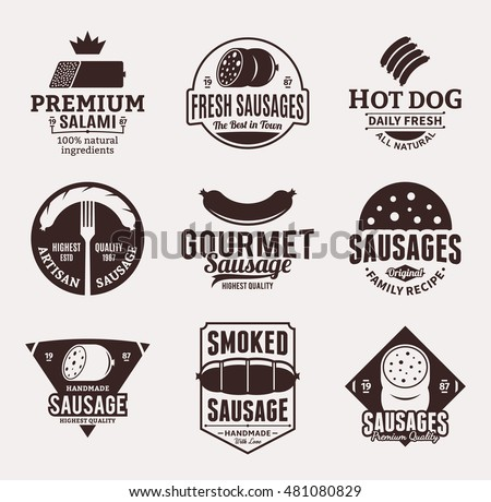 Set of sausage brown logo, icons and design elements for food labels, grocery and meat store branding and identity.