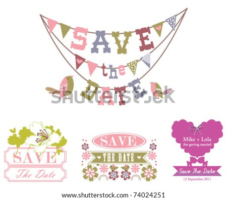 Set of save the date design - stock vector