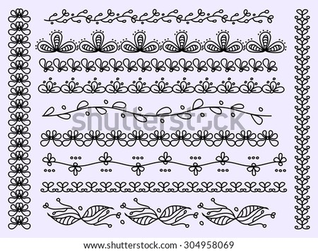 Set of scalloped floral vector borders isolated  - stock vector