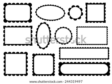 Set Scalloped Frames Stock Vector HD (Royalty Free) 244319497 ...