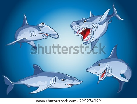 Set of scary sharks in cartoon style - stock vector