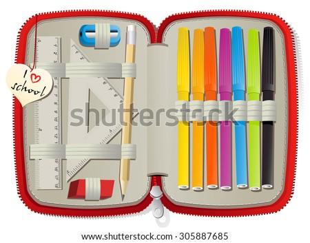 Set of school accessories in pencil box - stock vector