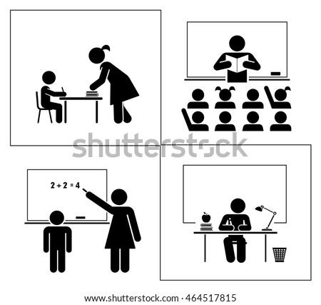 Set of school and education pictograms. Back to school. Learning in a traditional way. School and classroom.