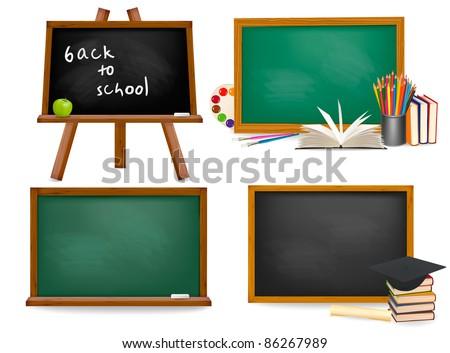 Set of school board blackboards. Back to school. Vector illustration - stock vector