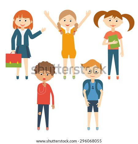 Set of school children in flat style. Children characters in cartoon style